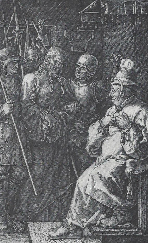 Albert Durer (German, 1471-1528) Christ before Caiaphas, from the Small Passion Engraving (M.1, reproduced at actual size), 1512